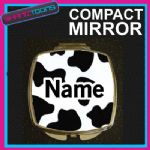 COW PRINT WITH PERSONALISED NAME GIFT COMPACT LADIES METAL HANDBAG MIRROR